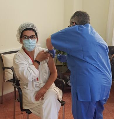 Campaña de vacunación en la Residencia y centro de día Mare Nostrum, el Masnou ( Barcelona )